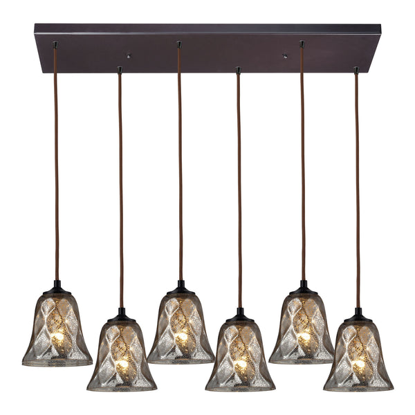 Darien 6 Light Pendant In Oiled Bronze And Mercury Glass