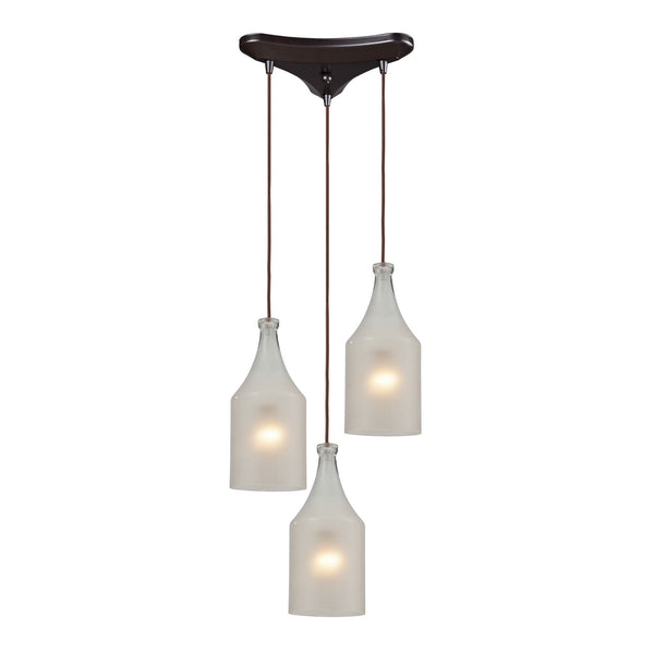 Skylar 3 Light Pendant In Oiled Bronze And Frosted Glass