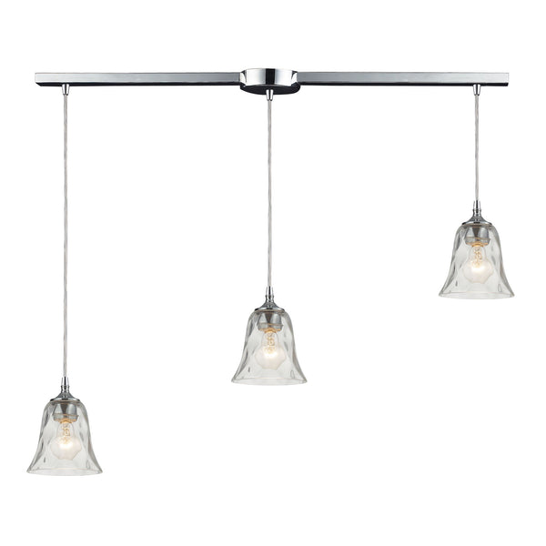 Darien 3 Light Pendant In Polished Chrome And Clear Glass
