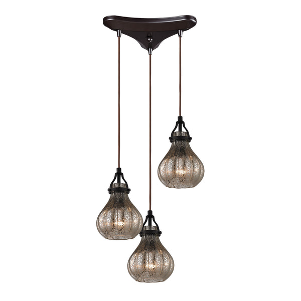 Danica 3 Light Pendant In Oil Rubbed Bronze And Mercury Glass