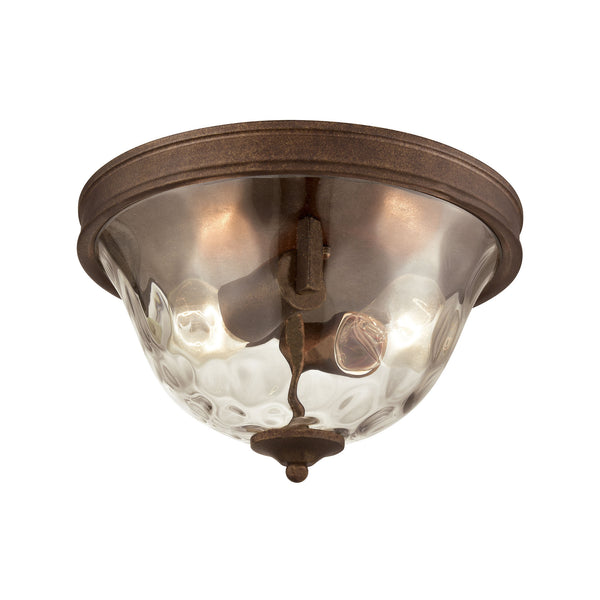 Cheltham 2 Light Flush In Mocha With Clear Water Glass