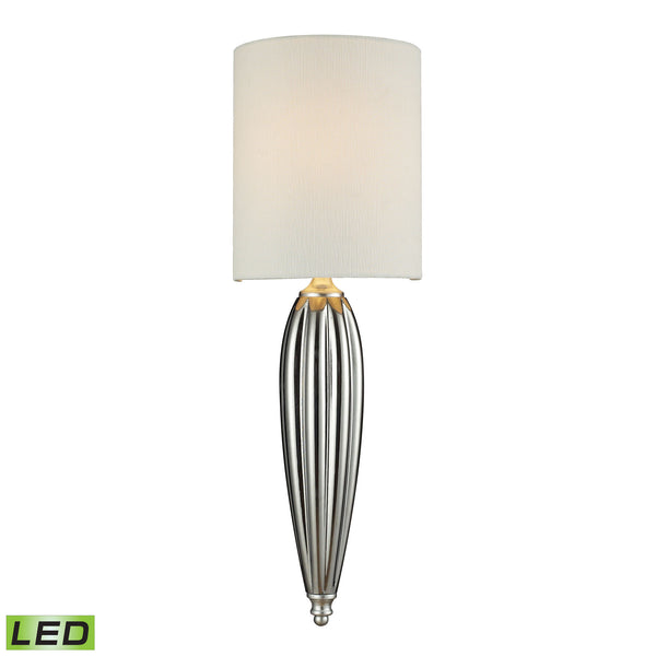 Martique 1 Light LED Wall Sconce In Chrome And Silver Leaf