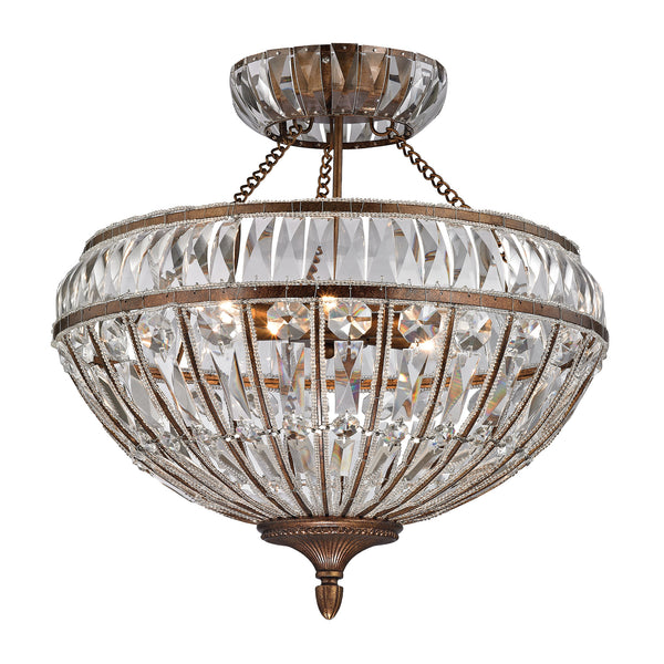 Empire 6 Light Semi Flush In Mocha And Clear Crystal