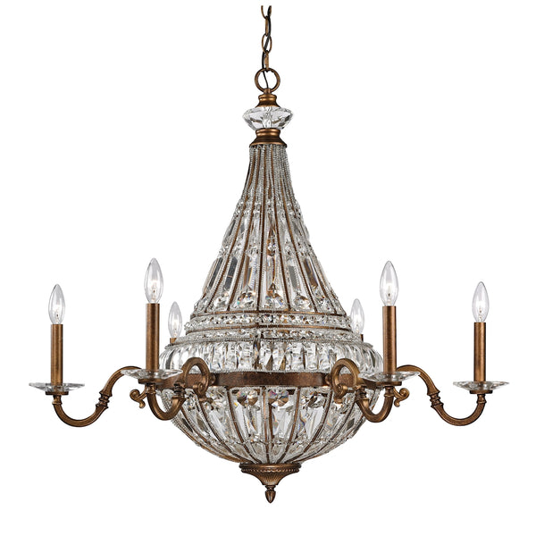Empire 14 Light Chandelier In Mocha And Clear Crystal