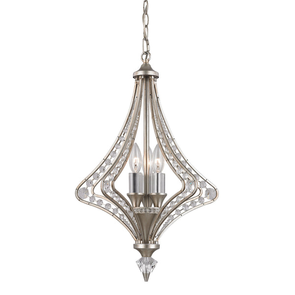 Ventoux 3 Light Chandelier In Satin Silver And Clear Crystal
