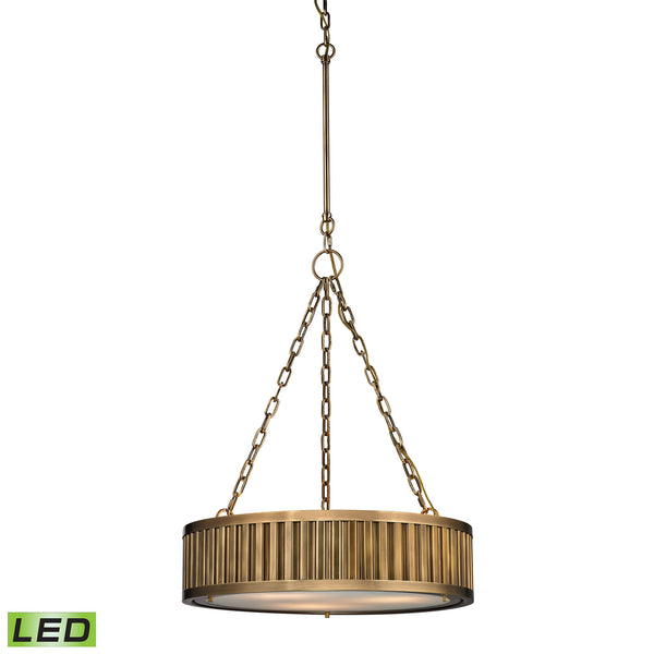 Linden Manor 3 Light LED Pendant In Aged Brass