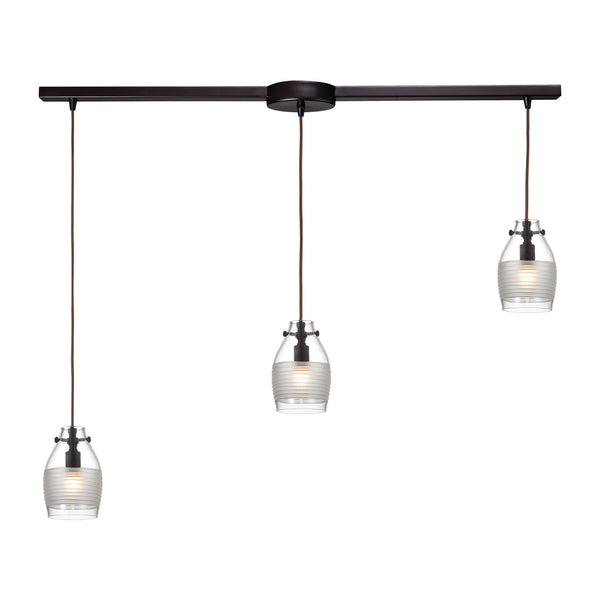 Carved Glass 3 Light Pendant In Oil Rubbed Bronze