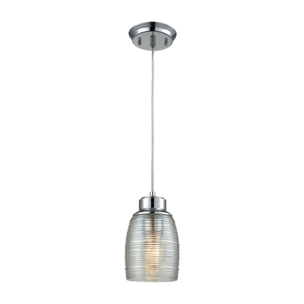 Muncie 1 Light Pendant In Polished Chrome With Clear Spun Glass