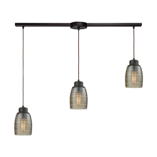 Muncie 3 Light Linear Bar Pendant In Oil Rubbed Bronze With Champagne Plated Spun Glass