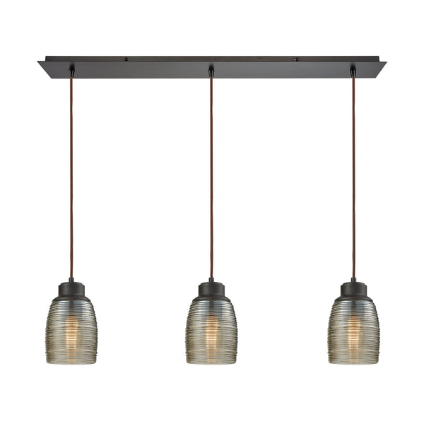 Muncie 3 Light Linear Pan Pendant In Oil Rubbed Bronze With Champagne Plated Spun Glass