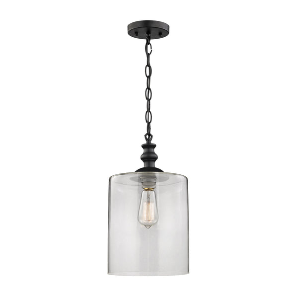 Bergen 1 Light Pendant In Oil Rubbed Bronze And Clear Glass