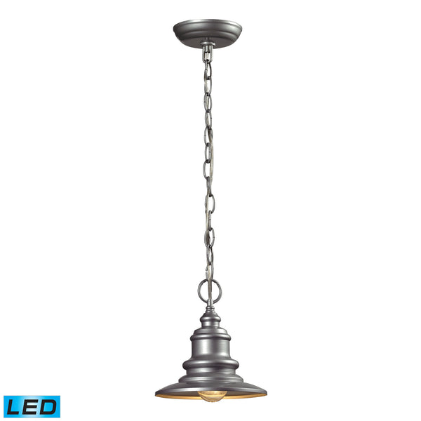 Marina 1 Light Outdoor LED Pendant In Matte Silver