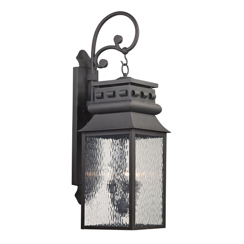 Elk Forged Lancaster 3 Light Outdoor Sconce In Charcoal Outdoor Wall item number 47064/3