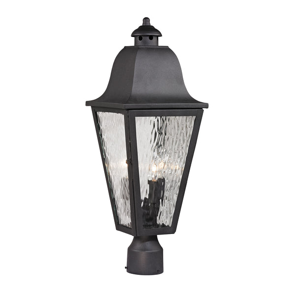 Forged Brookridge 3 Light Outdoor Post Lamp In Charcoal