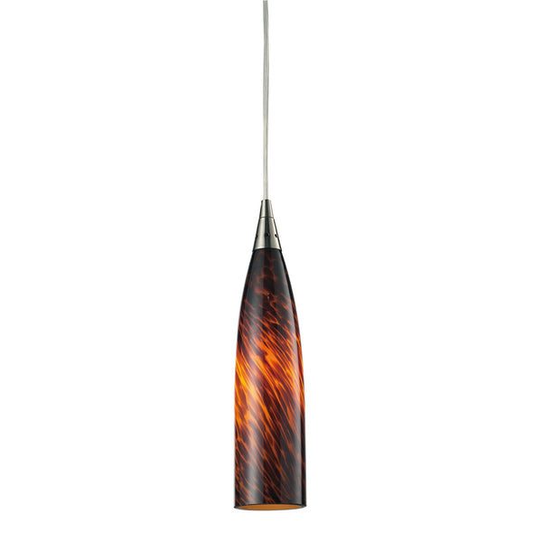 Lungo 1 Light Pendant In Satin Nickel And Espresso Glass