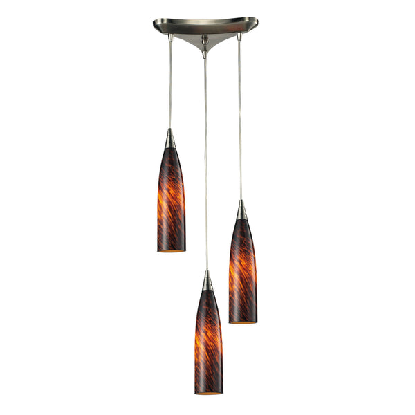 Lungo 3 Light Pendant In Satin Nickel And Espresso Glass