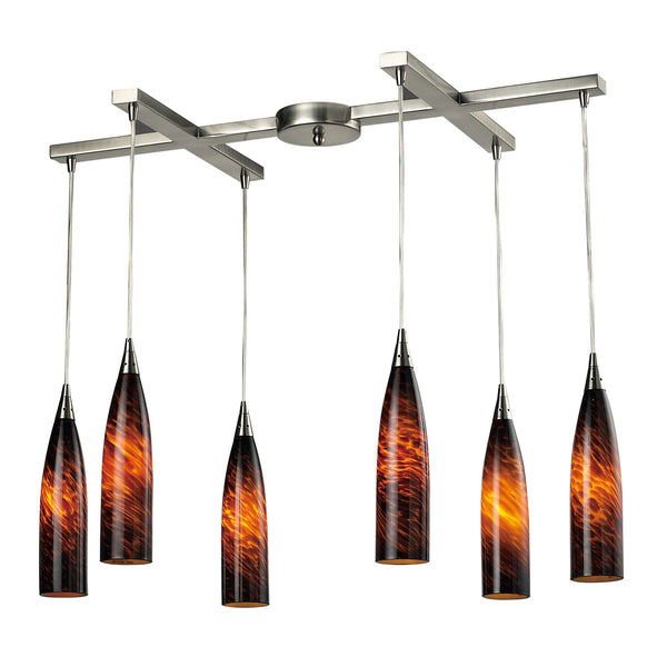 Lungo 6 Light Pendant In Satin Nickel And Espresso Glass
