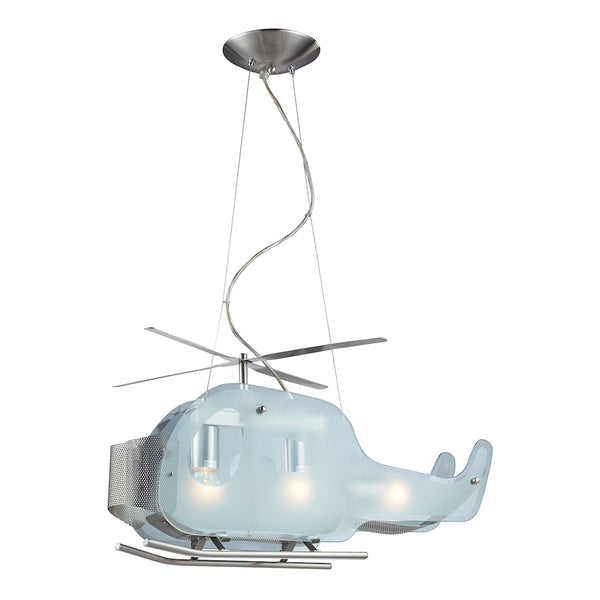 Novelty 3 Light Helicopter Pendant In Satin Nickel