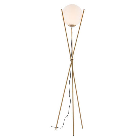 Antwerp Floor Lamp White & Brushed Brass