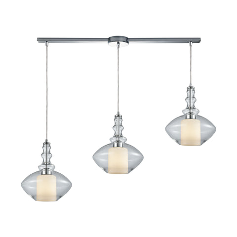 Alora 3 Light Linear Bar Pendant In Polished Chrome With Opal White Glass Inside Clear Glass