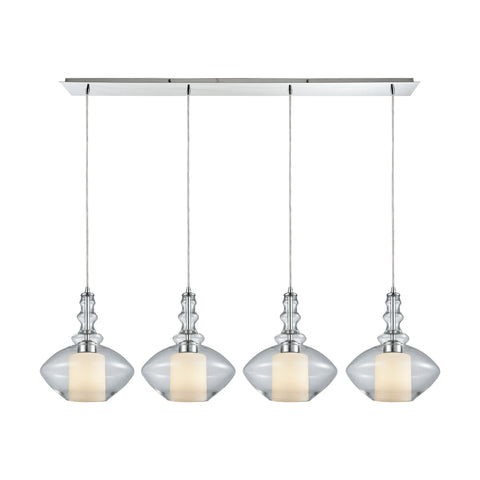Alora 4 Light Linear Pan Pendant In Polished Chrome With Opal White Glass Inside Clear Glass