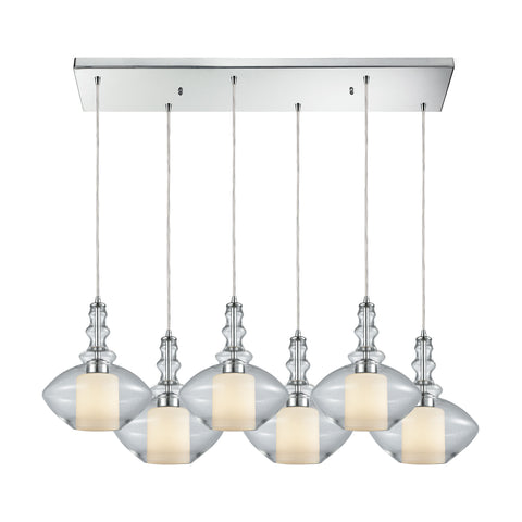 Alora 6 Light Rectangle Pendant In Polished Chrome With Opal White Glass Inside Clear Glass