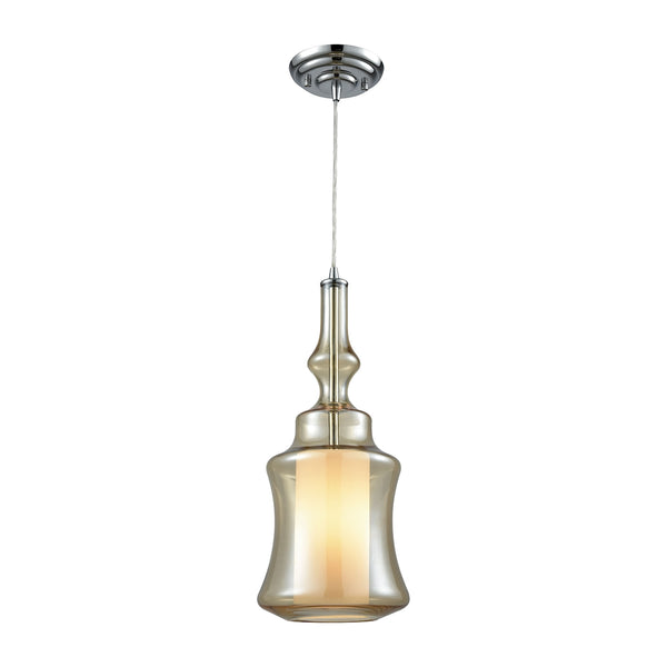 Alora 1 Light Pendant In Polished Chrome With Opal White And Champagne Plated Glass - Includes Recessed Lighting Kit