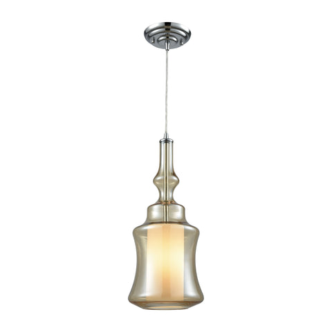 Alora 1 Light Pendant In Polished Chrome With Opal White And Champagne Plated Glass