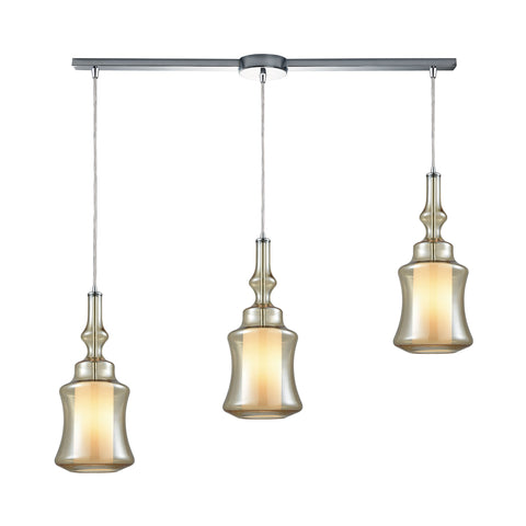 Alora 3 Light Linear Bar Pendant In Polished Chrome With Opal White Glass Inside Champagne Plated Glass