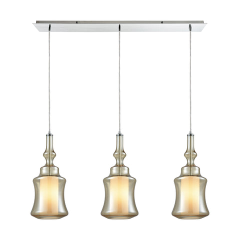 Alora 3 Light Linear Pan Pendant In Polished Chrome With Opal White Glass Inside Champagne Plated Glass