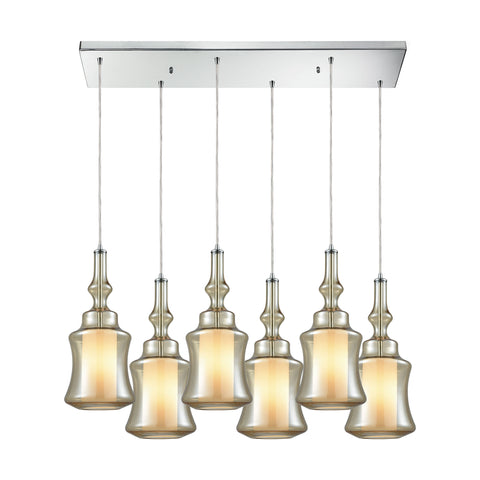 Alora 6 Light Rectangle Pendant In Polished Chrome With Opal White Glass Inside Champagne Plated Glass