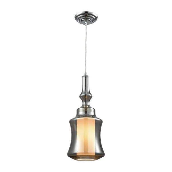 Alora 1 Light Pendant In Polished Chrome With Opal White And Smoke Plated Glass