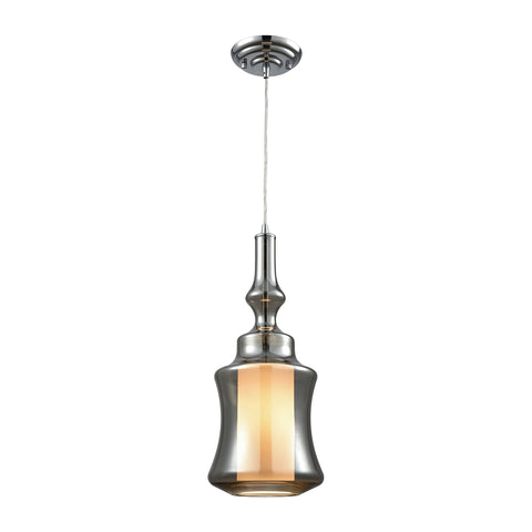 Alora 1 Light Pendant In Polished Chrome With Opal White And Smoke Plated Glass - Includes Recessed Lighting Kit