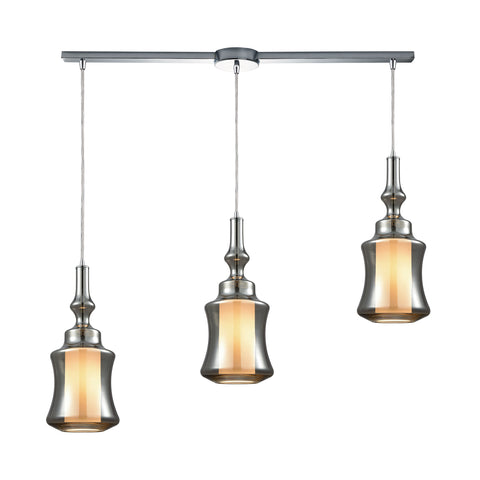 Alora 3 Light Linear Bar Pendant In Polished Chrome With Opal White Glass Inside Smoke Plated Glass