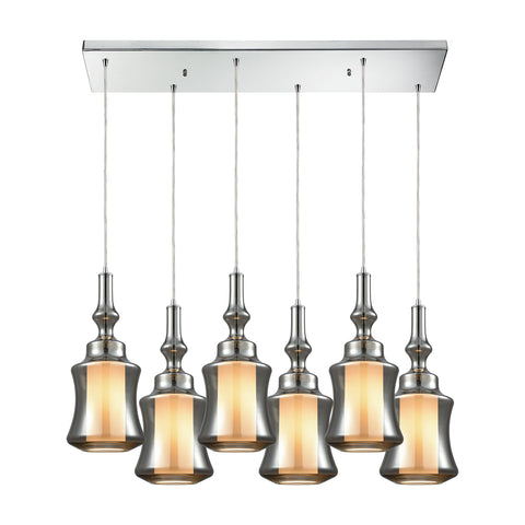 Alora 6 Light Rectangle Pendant In Polished Chrome With Opal White Glass Inside Smoke Plated Glass