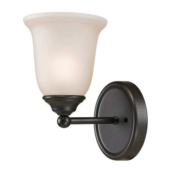 Thomas Lighting  Sudbury 1-Light Vanity Light in Oil Rubbed Bronze with White Glass  1 x 75W