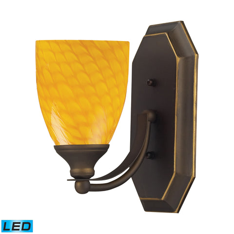 Bath And Spa 1 Light LED Vanity In Aged Bronze And Canary Glass