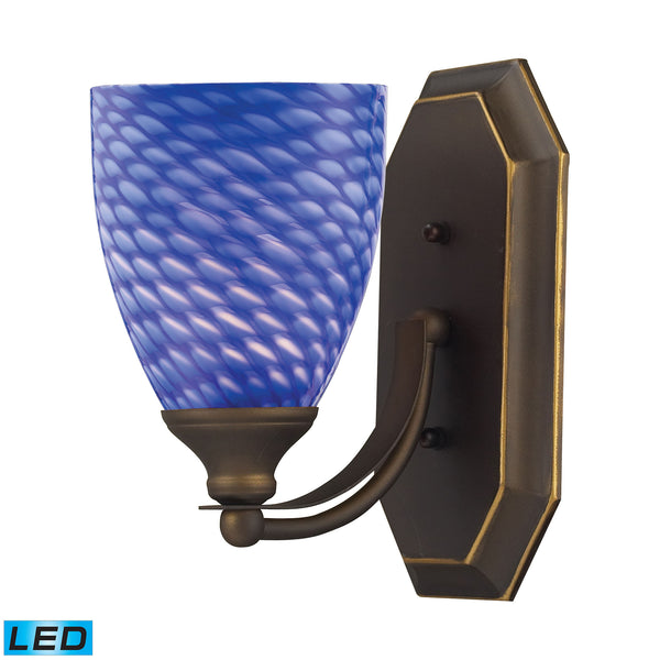 Bath And Spa 1 Light LED Vanity In Aged Bronze And Sapphire Glass