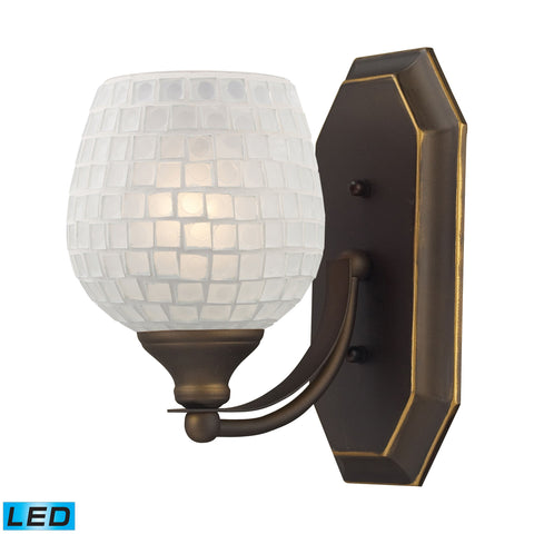 Bath And Spa 1 Light LED Vanity In Aged Bronze And White Glass