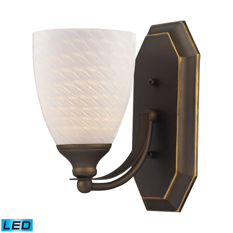 Bath And Spa 1 Light LED Vanity In Aged Bronze And White Swirl Glass