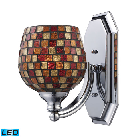 Bath And Spa 1 Light LED Vanity In Polished Chrome And Multi Fusion Glass
