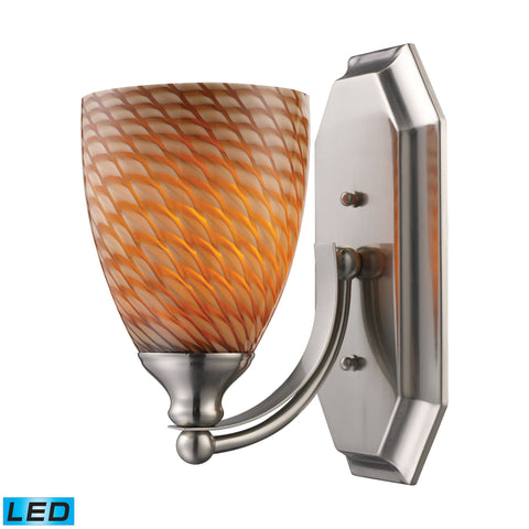 Bath And Spa 1 Light LED Vanity In Satin Nickel And Cocoa Glass