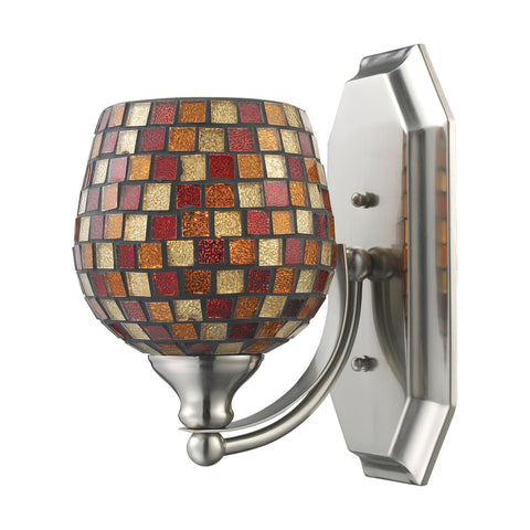 Bath And Spa 1 Light Vanity In Satin Nickel And Multi Fusion Glass