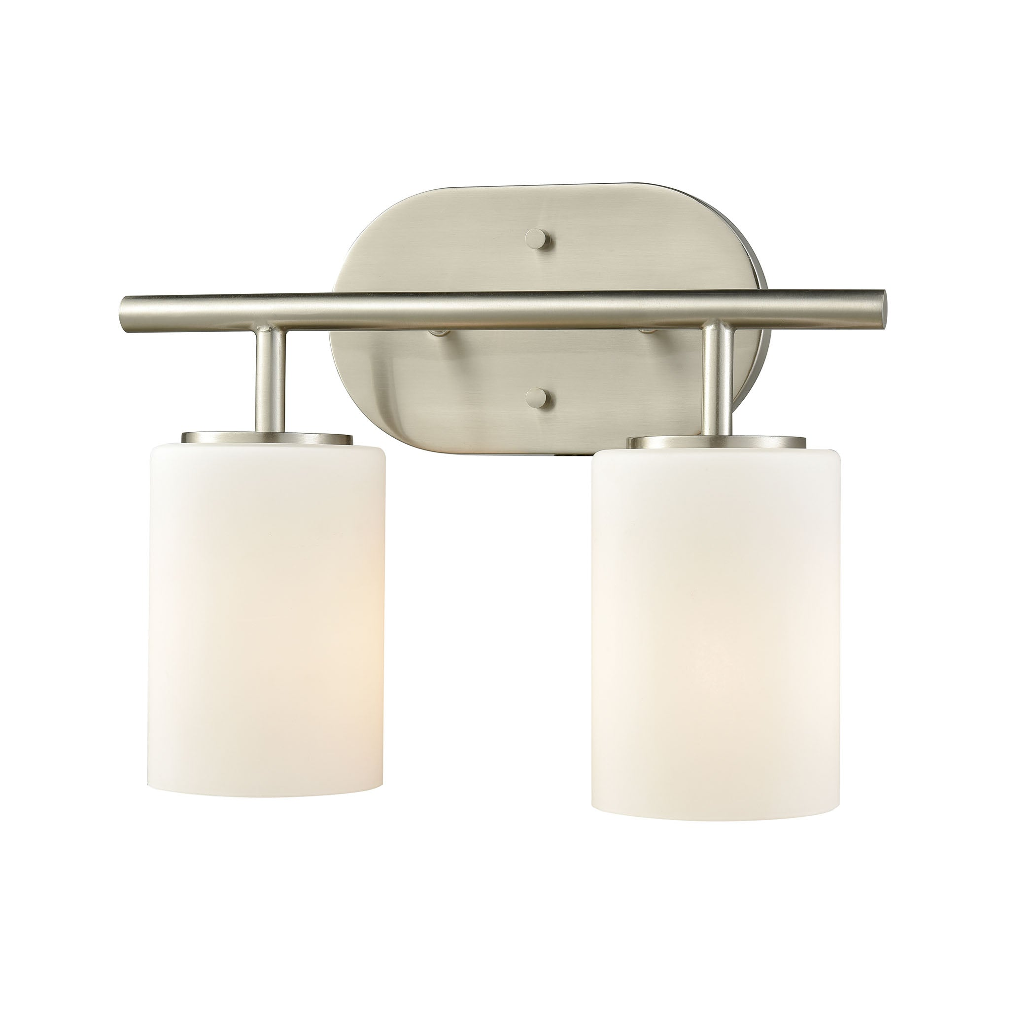 ELK Lighting  Pemlico 2 Light Vanity in Satin Nickel with White Glass
