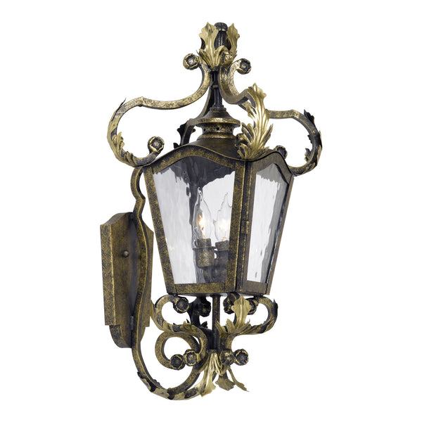 Acadiana Outdoor Wall Lantern In Castle Bronze And Water Glass
