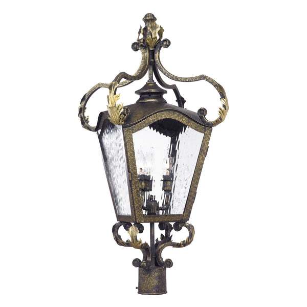 Acadiana Outdoor Post Lantern In Castle Bronze And Water Glass