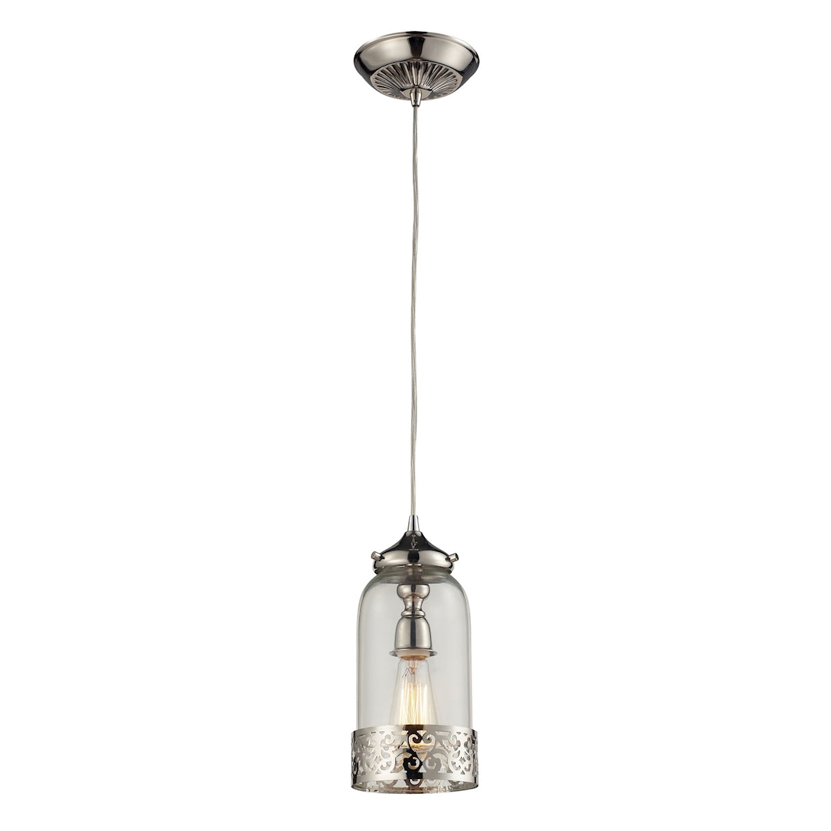 Brookline 1 Light Pendant In Polished Nickel And Clear Glass