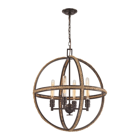 Natural Rope 4 Light Chandelier In Oil Rubbed Bronze