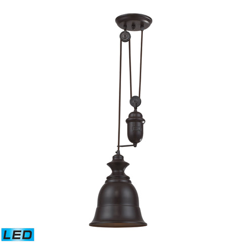 Farmhouse 1 Light Adjustable LED Pendant In Oiled Bronze