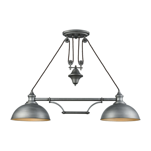 Farmhouse 2 Light Pulldown Island Light In Weathered Zinc